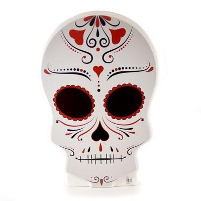"""Halloween 28.0"""" Day Of The Dead Skull Figurine Indoor Outdoor Spooky  -  Novelty Sculpture Lights"""