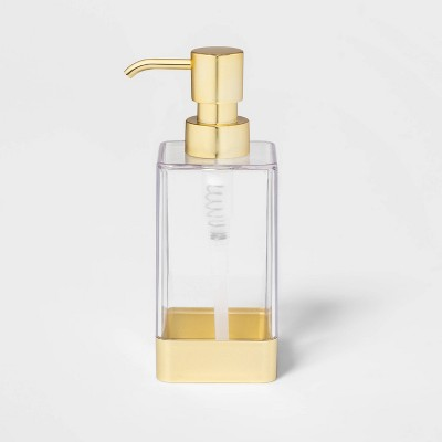 Square Soap/Lotion Dispenser Gold/Clear - Room Essentials™