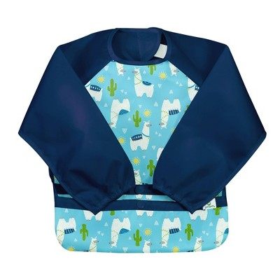 Green Sprouts Snap & Go Easy-wear Long Sleeve Bib Llamas 12-24m - Aqua
