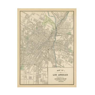 "24"" x 32"" Wild Apple Portfolio 'Map of Los Angeles' Unframed Canvas Art - Trademark Fine Art"