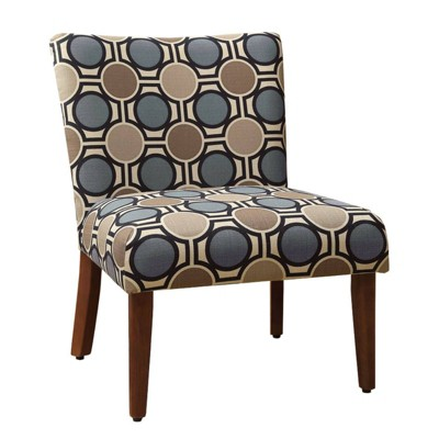 Wooden Parson Chair with Geometric Patterned Fabric Upholstered Seating Blue/Brown - Benzara