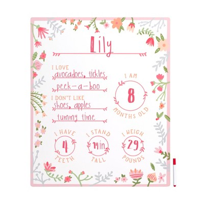 Pearhead Photosharing Whiteboard Floral Doodle Mats & Boards - Pink