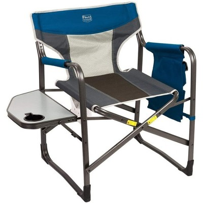 Timber Ridge Portable Lightweight Aluminum Frame Folding Camping Directors Chair with Side Table & Cupholder, Blue/Black/Gray