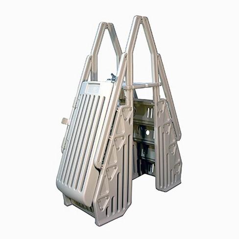 Vinyl Works AF Adjustable 24 Inch Gated Entry Above Ground Pool Ladder, White - image 1 of 4