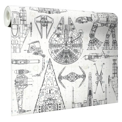 Star Wars Spaceship Blueprints Peel and Stick Wallpaper -RoomMates