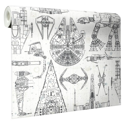 Bekend RoomMates Star Wars Spaceship Blueprints Peel And Stick Wallpaper &XV44
