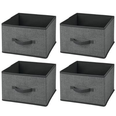mDesign Soft Fabric Closet Storage Organizer Cube Bin, 4 Pack