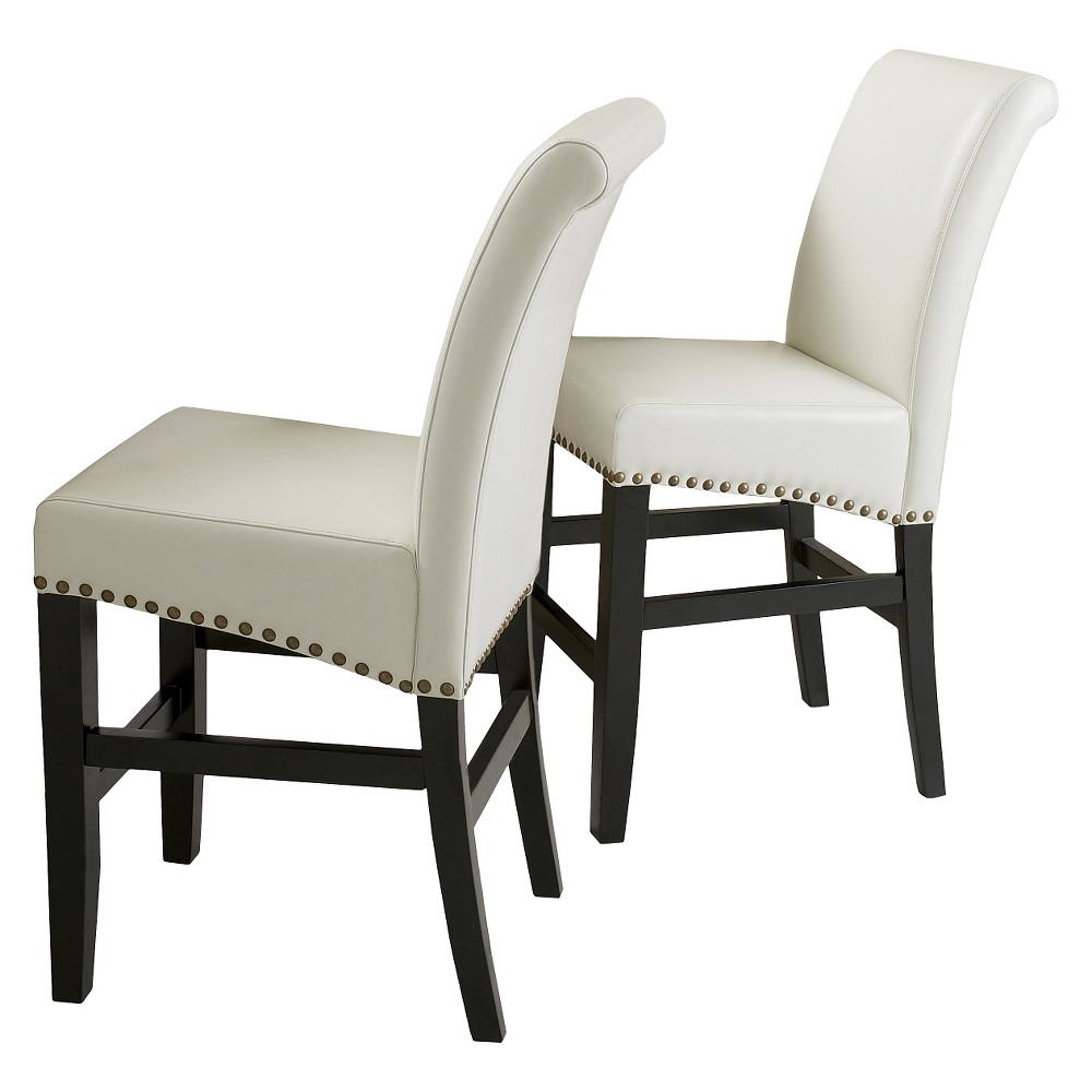 Lisette Leather 25 Counter Stool - Ivory(Set of 2) - Christopher Knight Home