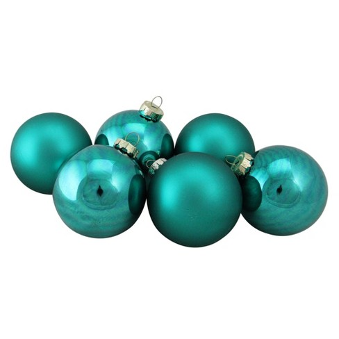 Northlight 6pc Shiny And Matte Glass Ball Christmas Ornament Set 3 25 Turquoise Blue
