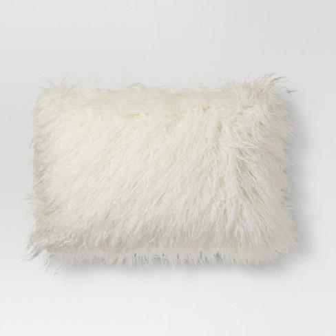 Mongolian Faux Fur Oblong Throw Pillow Project 62