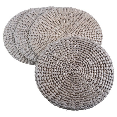 "4pk 15"" Hyacinth Hand Woven Round Placemat Silver- Saro Lifestyle"