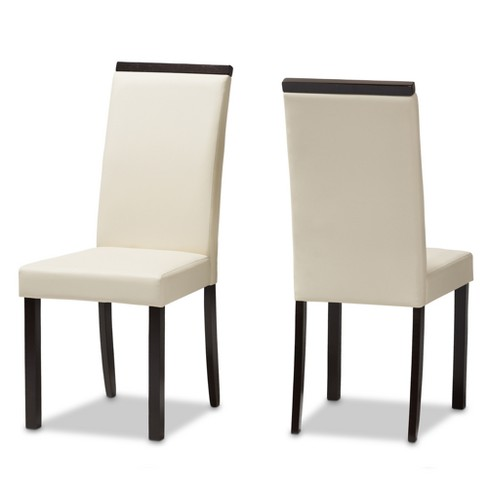 Set of 2 Daveney Modern and Contemporary Faux Leather Upholstered Dining Chairs Cream - Baxton Studio - image 1 of 8