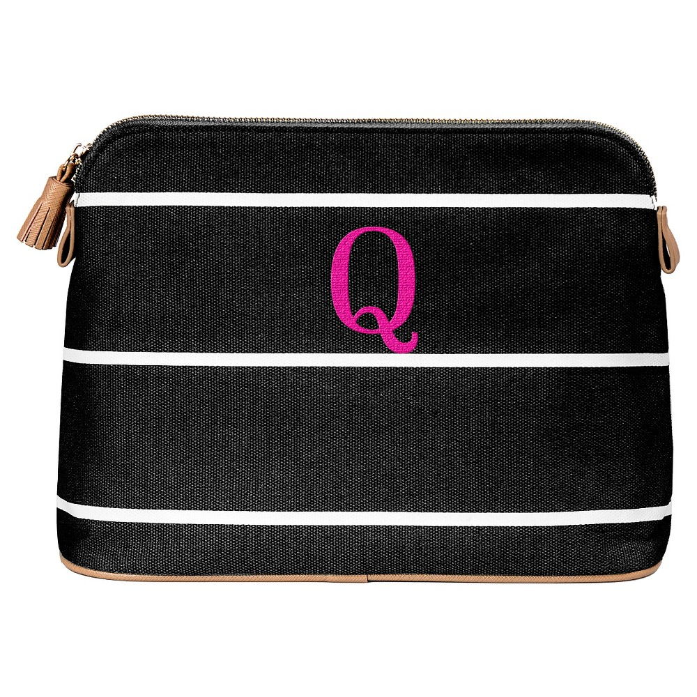 Personalized Black Striped Cosmetic Bag - Q