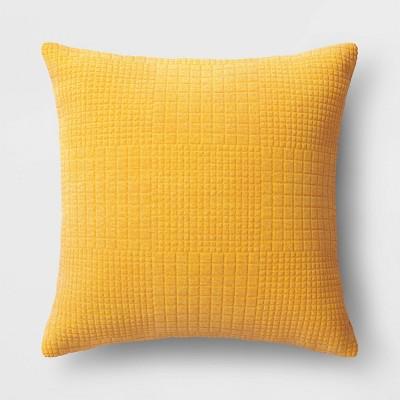 Oversized Velvet Grid Square Throw Pillow Yellow - Threshold™