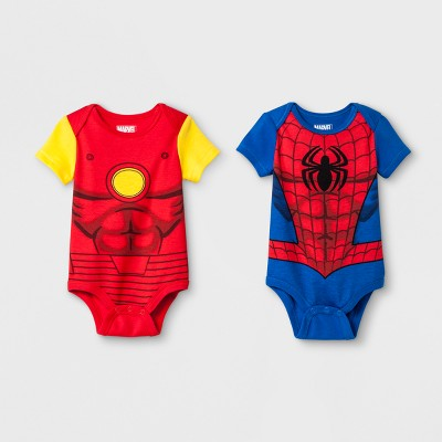 Baby Boys' Marvel Spider-Man and Iron Man 2pc Short Sleeve Bodysuits - Red 3-6M