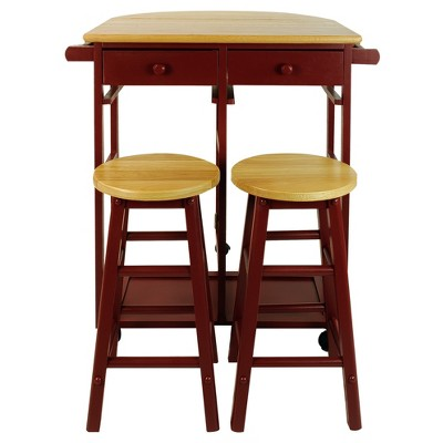 Breakfast Cart with Drop Leaf Table & Stool Set - Flora Home