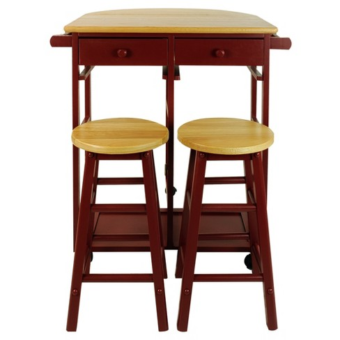 Breakfast Cart with Drop Leaf Table & Stool Set - Red -  Flora Home - image 1 of 8
