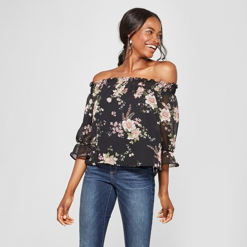 Women's Floral Print 3/4 Sleeve Off the Shoulder Top - Lily Star (Juniors') Black - image 1 of 2