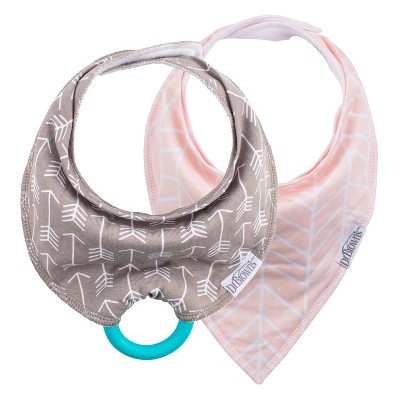 Dr. Brown's Bandana Bib 2pk with Removable Silicone Teether - Pink/Gray Arrows