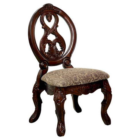 Sun & Pine Elegant Carved Padded Side Chair Wood/Antique Cherry (Set of 2) - Sun & Pine Elegant Carved Padded Side Chair Wood/Antique Cherry (Set