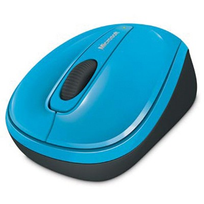 Microsoft 3500 Wireless Mobile Mouse- Cyan Blue - Wireless - Limited Edition - BlueTrack Enabled - Scroll Wheel - Ambidextrous Design