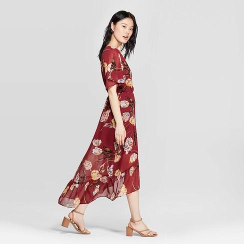9a11940799ea4 Women's Floral Print Short Sleeve V-Neck Midi Dress - A New Day™ Burgundy