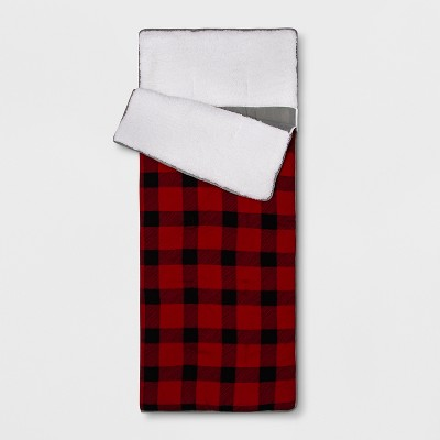 Plaid Sleeping Bag Red - Pillowfort™
