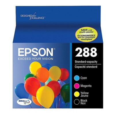 Epson 288 Black, C/M/Y 4pk Combo Ink Cartridges - Black, Cyan, Magenta, Yellow (T288120-BCS)