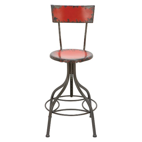 Outstanding Metal Back Rest Bar Stool Red Olivia May Cjindustries Chair Design For Home Cjindustriesco