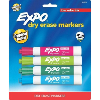 4pk Dry Erase Marker Chisel Tip Tropical Multicolor - Expo