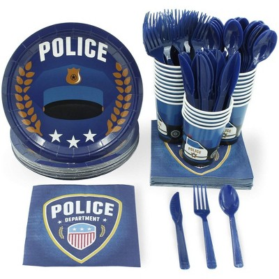 24 Set Disposable Dinnerware Tableware for Police Party Boys Kids Birthdays