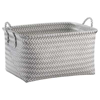 Large Woven Rectangular Storage Basket Gray/White - Room Essentials™