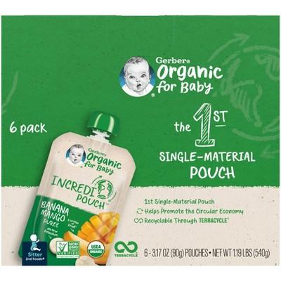 Gerber Organic Sitter 2nd Foods Incredipouch Banana Mango Puree - 6pk/3.17oz