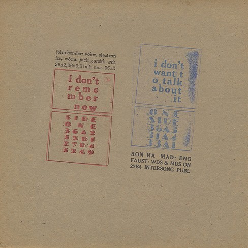 John bender - I don't remember now/I don't want to (Vinyl) - image 1 of 1