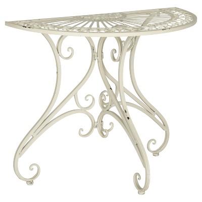 Semicircle Patio Accent Table - White - Safavieh