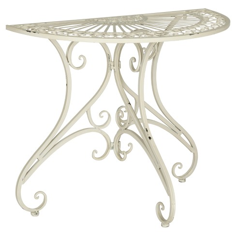 Semicircle Patio Accent Table - White - Safavieh - image 1 of 4