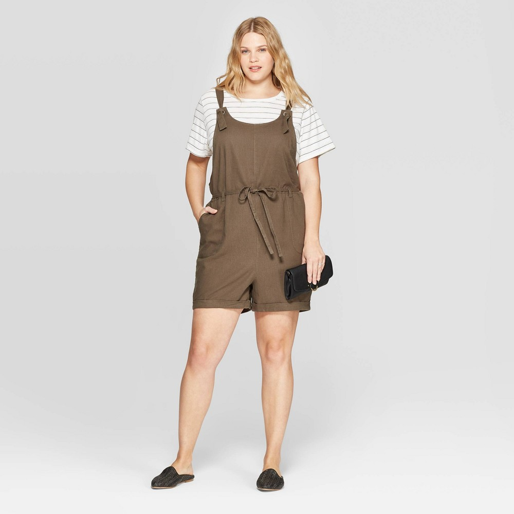 5b79a55c8aaab Womens Plus Size Sleeveless Scoop Neck Overall Romper Universal Thread  Olive Green 1X