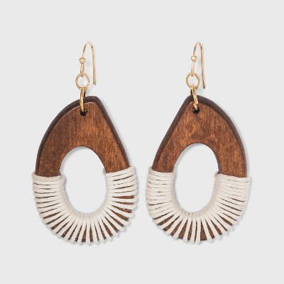 Wooden with Thread Drop Earrings - A New Day™
