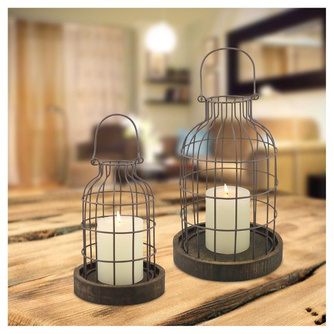 Stonebriar Metal Cage Cloches With Rustic Wooden Candle Holder Base Set Of 2 Target