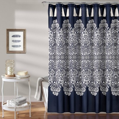 Boho Medallion Shower Curtain Navy - Lush Décor