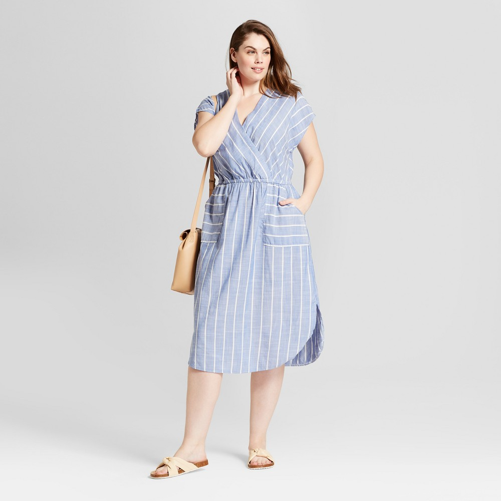 Women's Plus Size Striped Tie Back Dress - Universal Thread Blue 4X, Size: Small was $29.98 now $20.98 (30.0% off)
