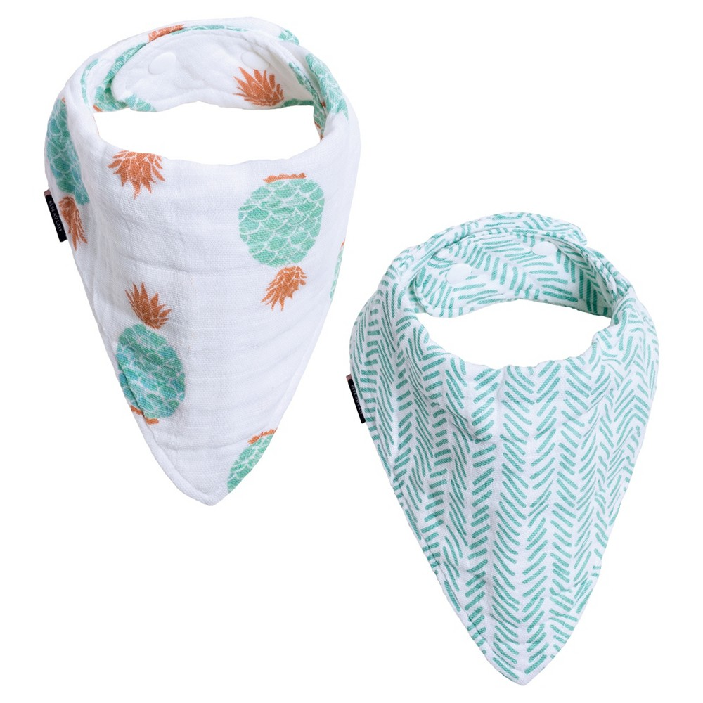 Bebe au Lait Muslin Bandana Bib Set 2pk - Oahu/Zig-Zag, Multi-Colored
