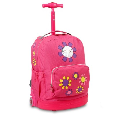"J World 16.5"" Daisy Rolling Backpack - Pink"