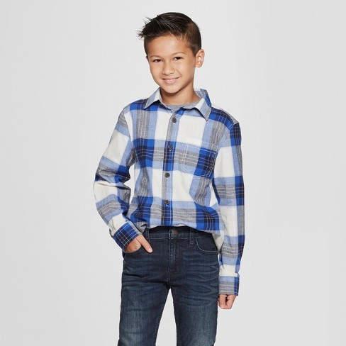 Boys' Long Sleeve Button-Down Shirt - Cat & Jack™ Navy - image 1 of 3