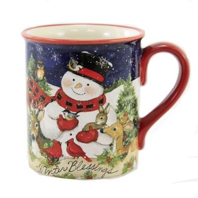 "Tabletop 4.25"" Magic Christmas Snowman Mug Woodland Friends Certified International  -  Drinkware"