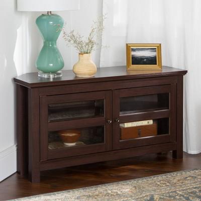 44  Wood Corner TV Media Stand Storage Console - Espresso - Saracina Home