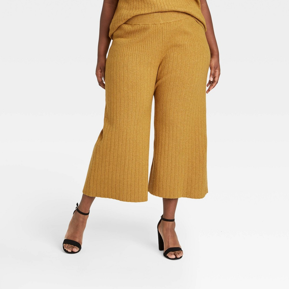70s Clothes | Hippie Clothes & Outfits Womens Plus Size High-Rise Wide Leg Lounge Pants - Who What Wear Yellow 4X $32.99 AT vintagedancer.com