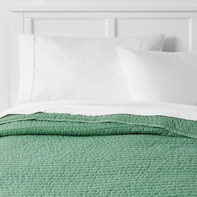 Full/Queen Garment Washed Microfiber Quilt Light Green - Room Essentials™