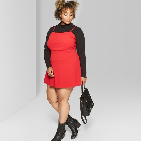 b251d01e7d393 Women s Plus Size Square Neck Strappy Knit Dress - Wild Fable™ Red