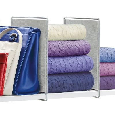 Lynk Vela Shelf Dividers Closet Shelf Organizer (Set of 2)- Platinum